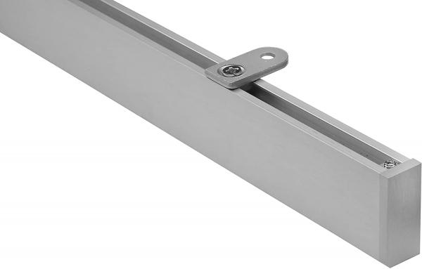 Eckige Vorhangschiene 200-460cm mit Innenlauf für Deckenmontage modern in Silber inkl. Zubehör