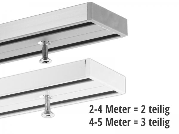 Vorhang- und Objektschiene 2-läufig weiss und silber 2 & 3-teilig