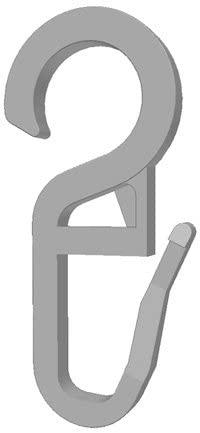 100 Stk. Faltenlegehaken/Gardinenhaken (840-10) mit 10 mm Öse (weiß)