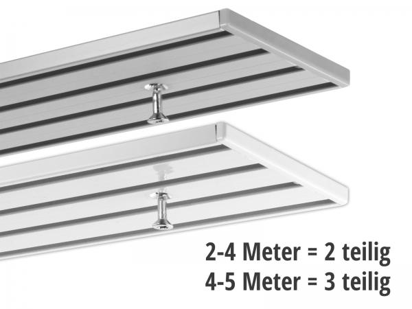 Gardinenschiene 4-läufig ab 2 Meter (2 und 3 teilig)