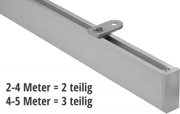 Eckige Vorhangschiene 200-500cm mehrteilig mit Innenlauf für Deckenmontage modern in Silber inkl. Zu